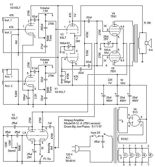 Схема Ampeg-Jet Amplifier