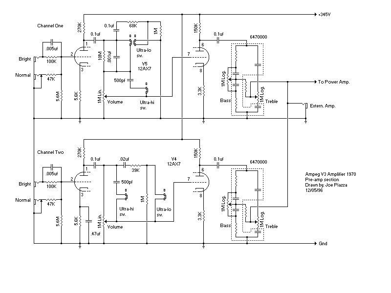 Схема Ampeg-V3 Preamp