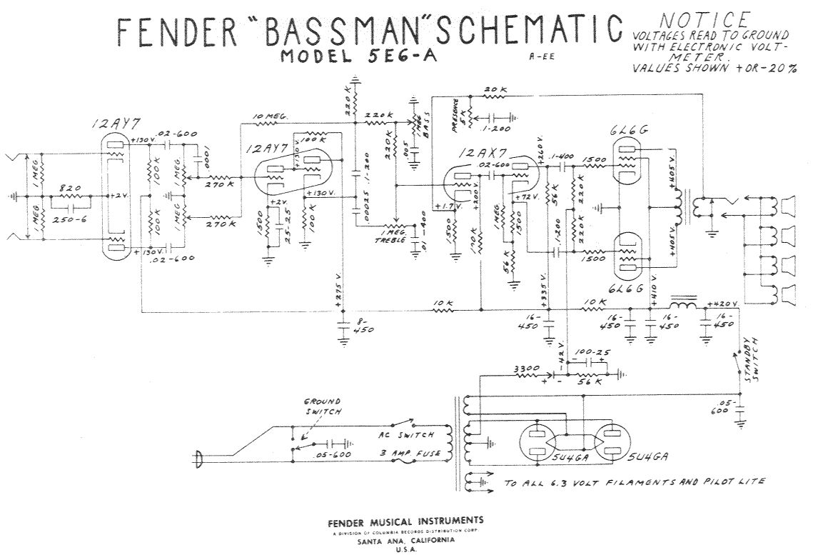 fender bassman 10 schematic fender bassman 100 tube amp schematic