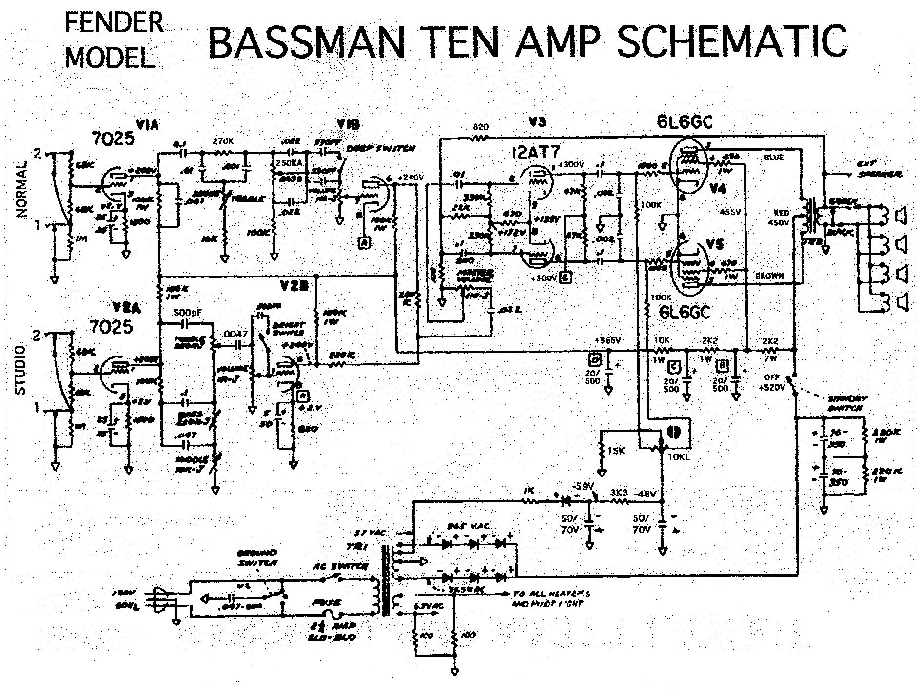 Fender Bassman 5f6 Tweed Guitar Effect Schematic Diagram Black Face Champ