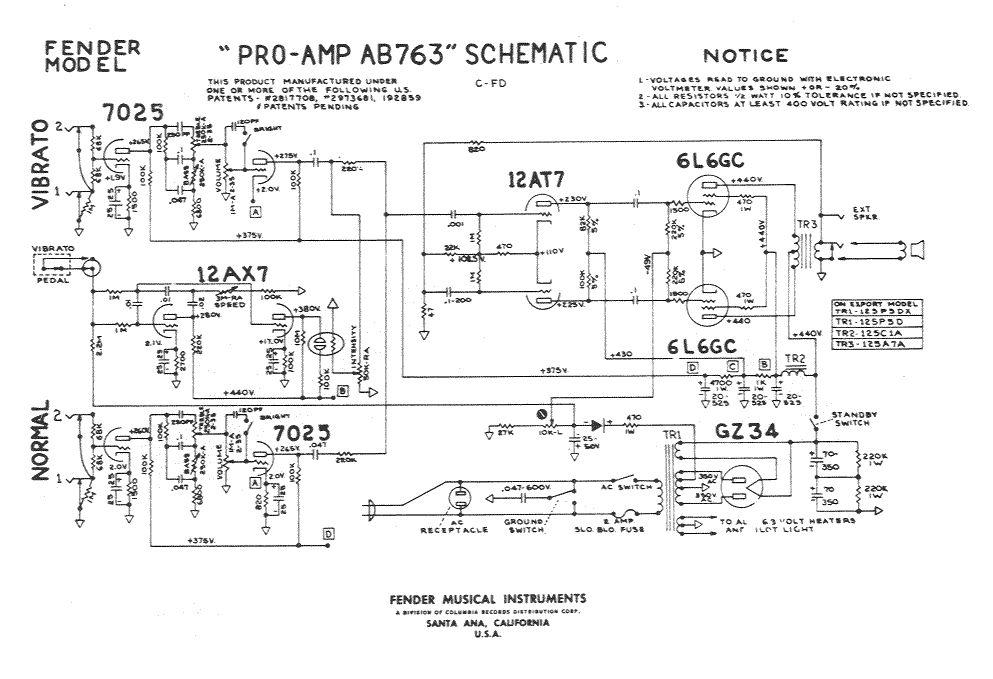 Схема добавлена: 12.02.10.  Ламповый (6 ламп) двухканальный двухтактный комбик с вибрато.