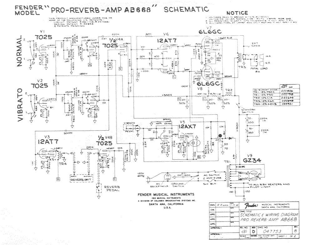 Схема Fender-Pro Reverb Amp