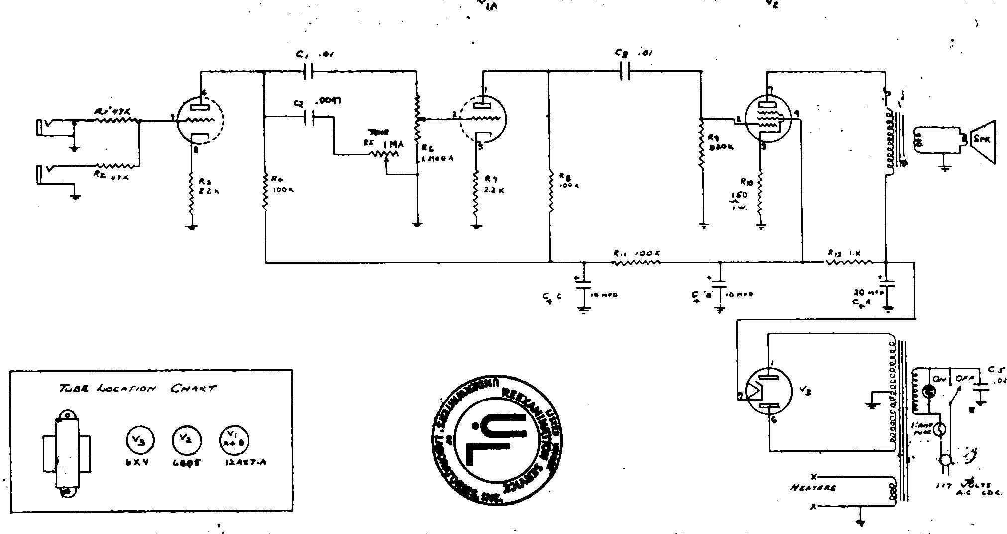 Ламповый (2 лампы) простой одноканальный однотактный комбик.  Схема добавлена: 12.02.10.