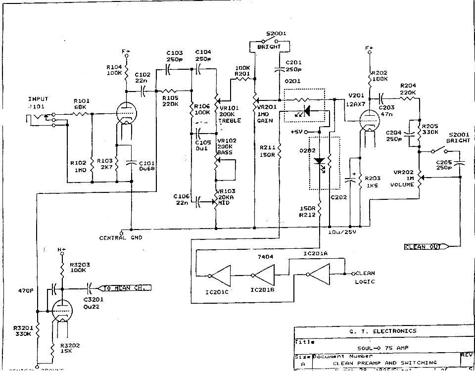 Гибридный (лампы, транзисторы, микросхемы) сложный комбик ч.2. Схема добавлена: 14.02.10.