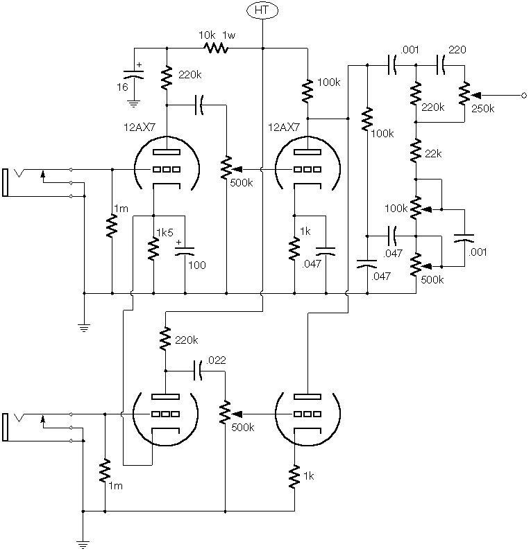 Ламповый (2 лампы) двухканальный преамп.  Схема добавлена: 14.02.10.