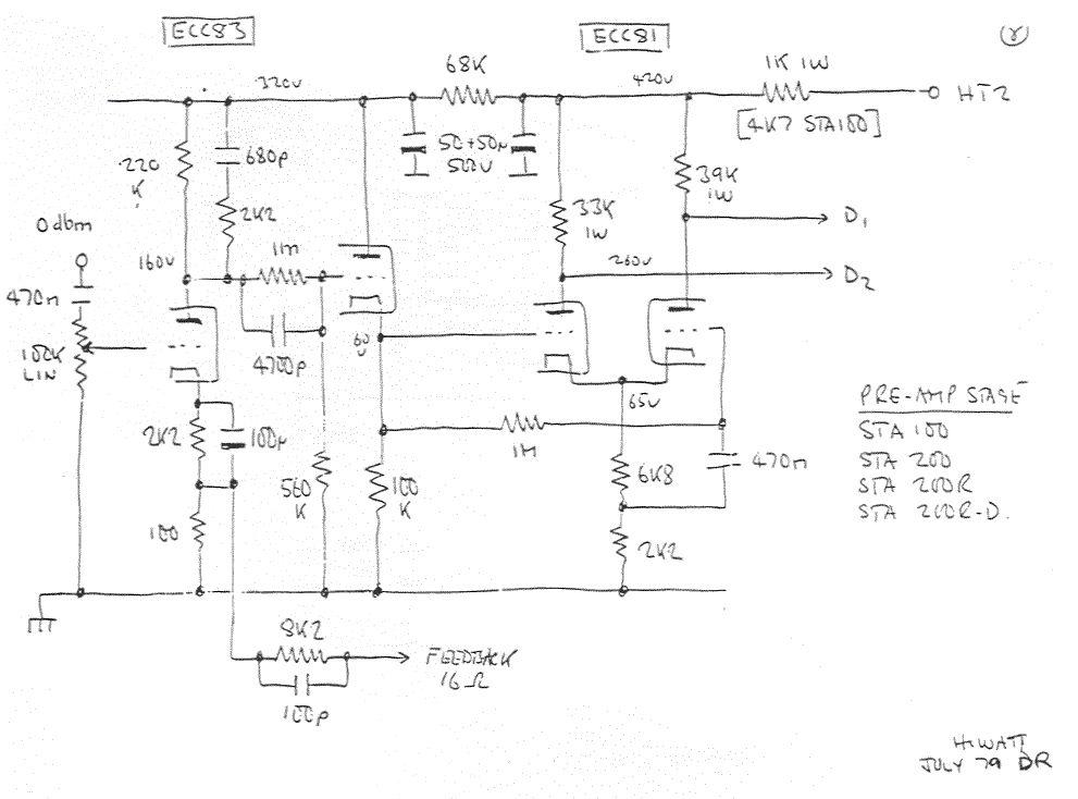 Ламповый (2 лампы) одноканальный преамп.  Схема добавлена: 14.02.10.