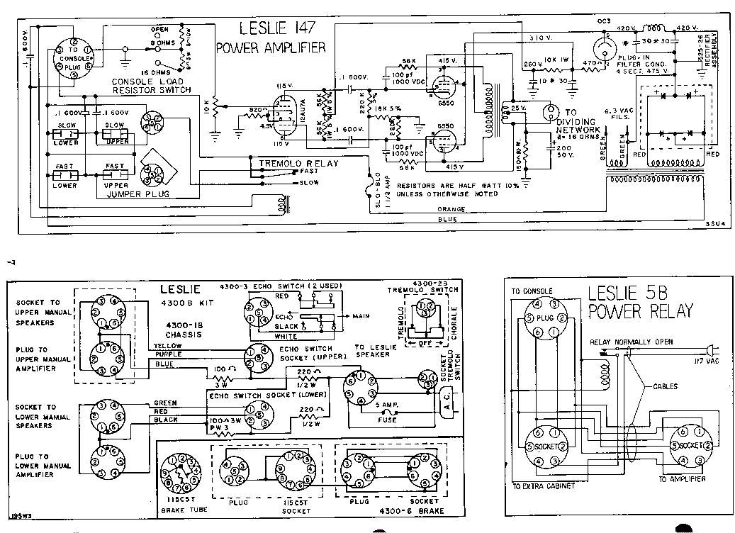 Schematic - Leslie 147 Tube Amplifier @ AmpsLab.com.