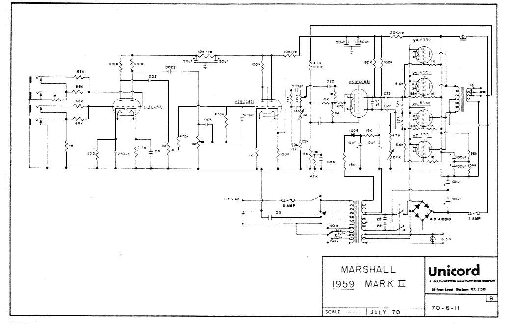 Marshall JMP 100W Lead and Super Lead (6550 version) - Schematic.