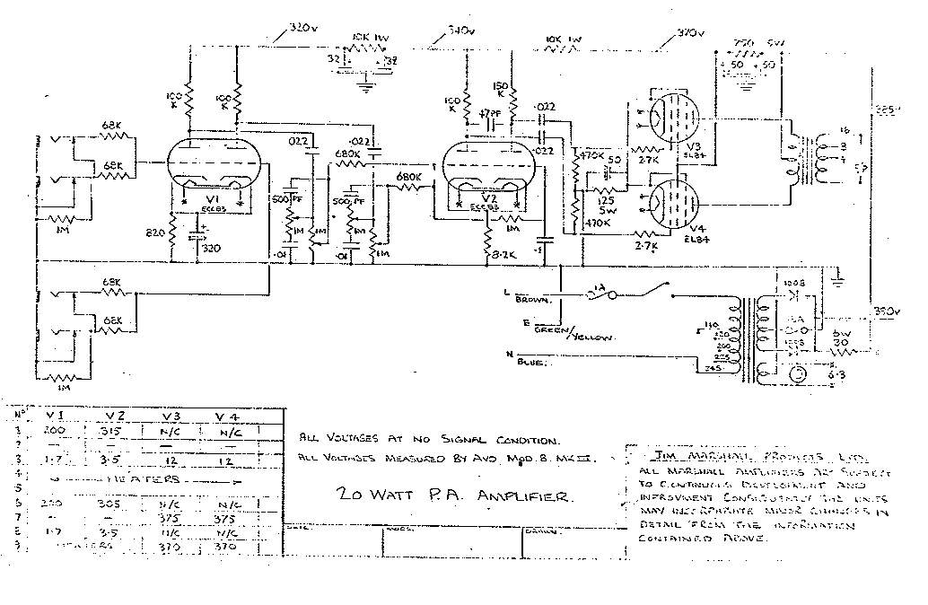 Схема Marshall-20W PA