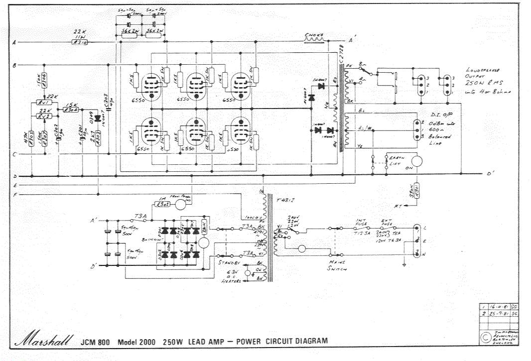 Marshall Jcm 2000 Dsl 50 Schematic Diagram