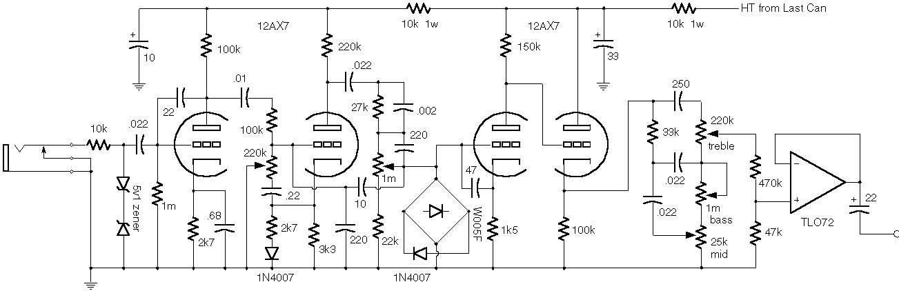 Схема Marshall-JCM 900 Preamp