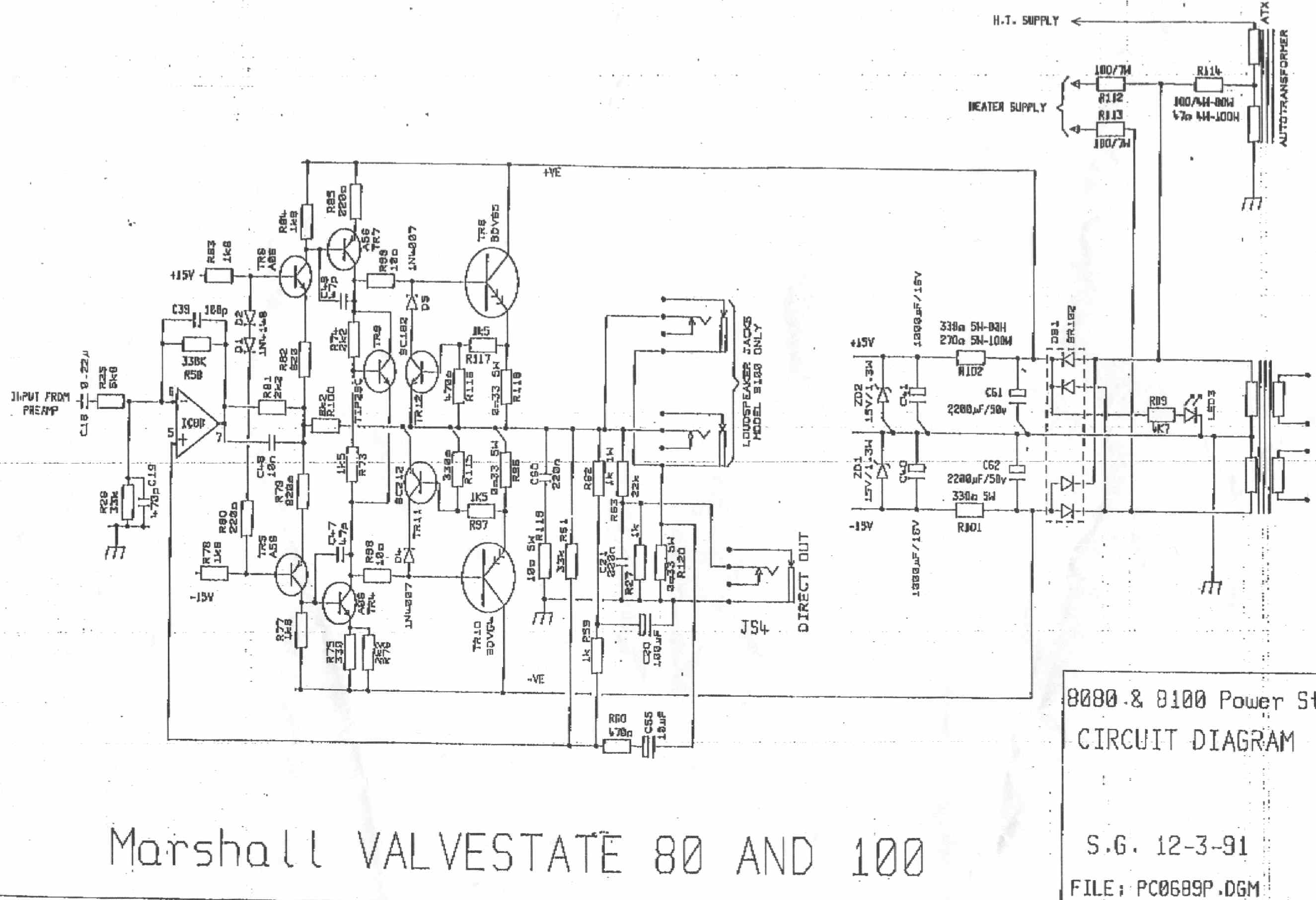 Marshall Valvestate 8080 Circuit Diagram