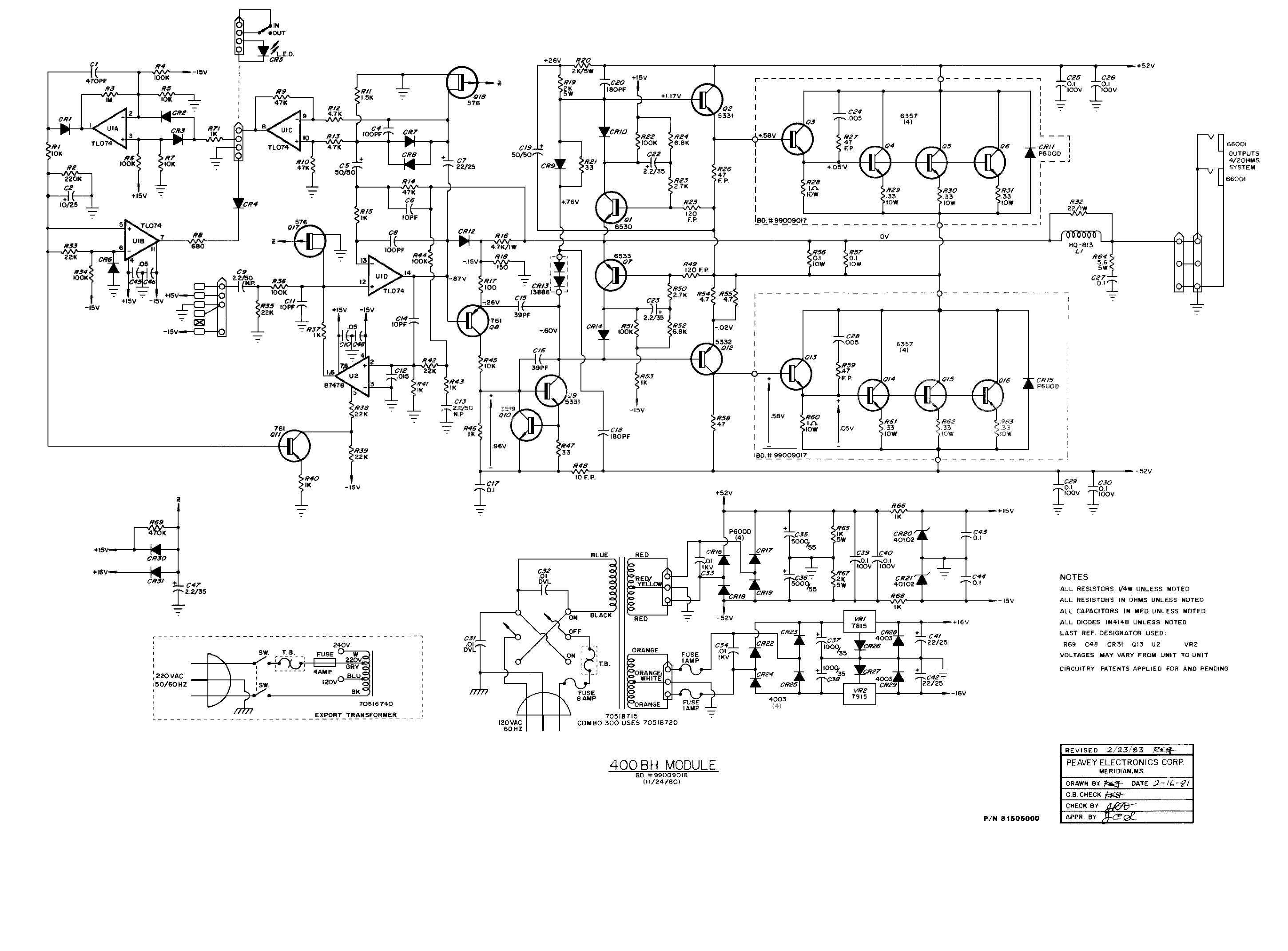 Peavey 400 Series Amplifier Schematics Wiring Diagrams Guitar Amp Diagram Get Free Image About Schematic Vegas Classic 30 Combo 300