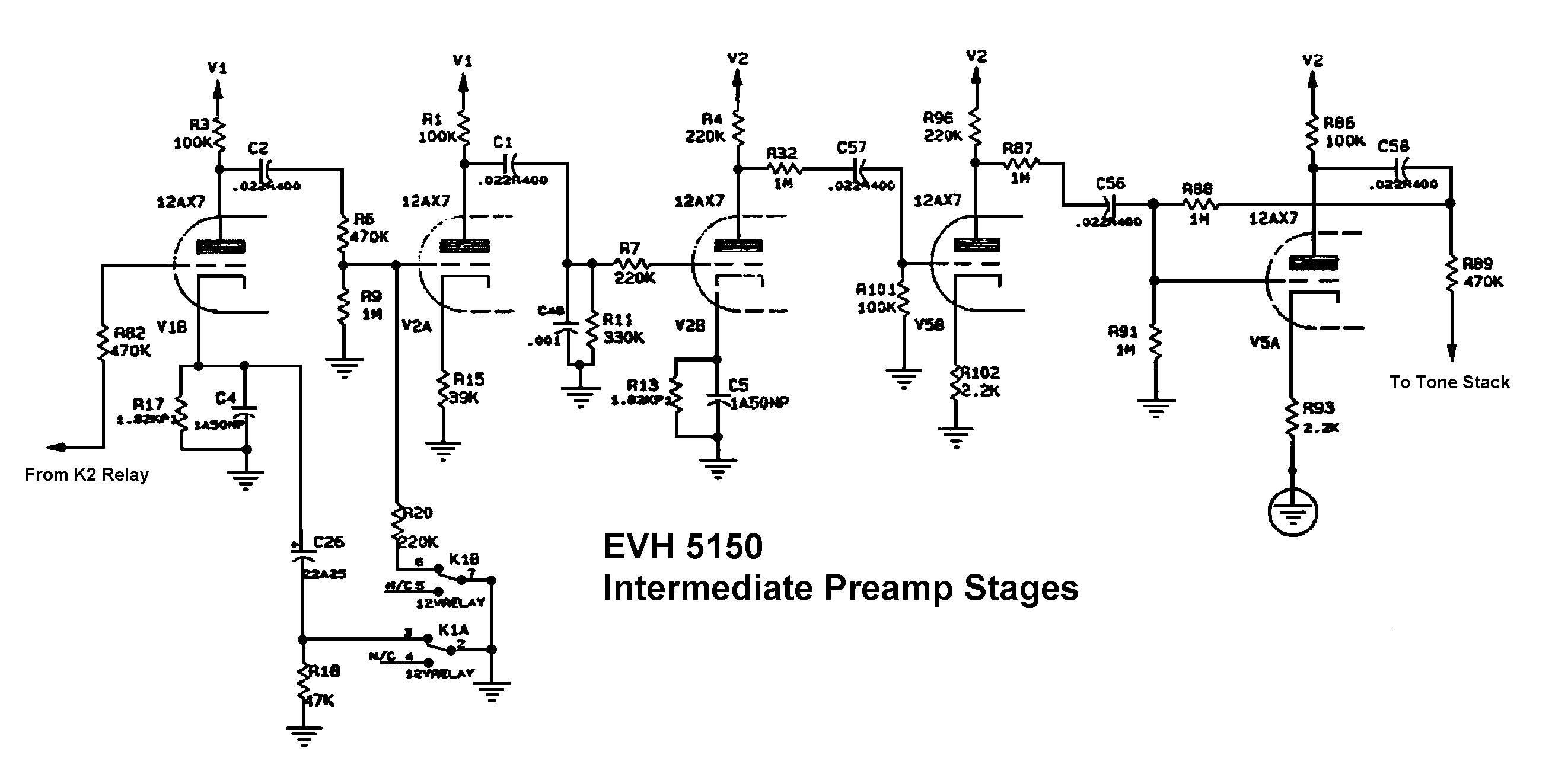 Схема Peavey-EVH 5150 Intermedial Preamp Stages