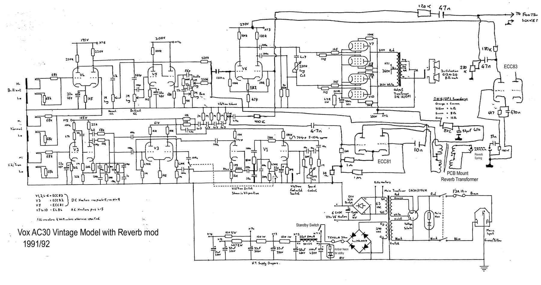 Vox Reverb Schematic Detailed Wiring Diagrams Ac30 Guitarwork Ru Fender Deluxe Serial Numbers