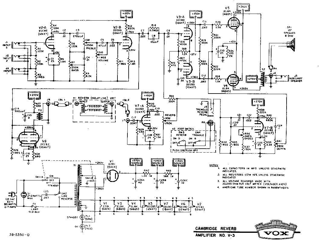 Ламповый (6 ламп) двухтактный одноканальный комбик с ревербератором.  Схема добавлена: 28.02.10.