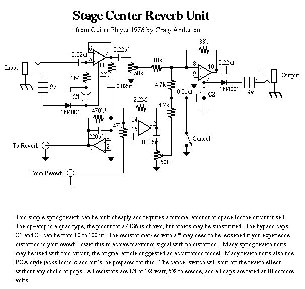 Схема Craig Anderton-Stage Center Reverb