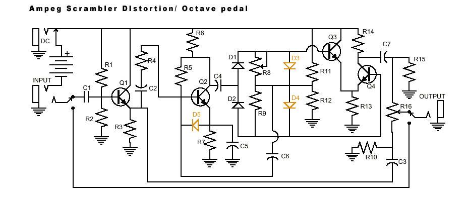 Дисторшн на 4х транзисторах