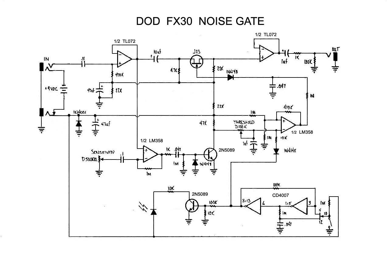 Схема DOD-FX30 Noise Gate