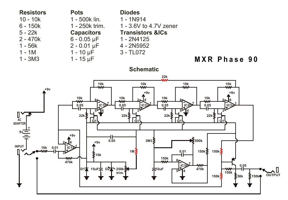 Схема MXR-Phase 90