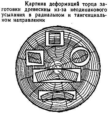картина деформации древесины