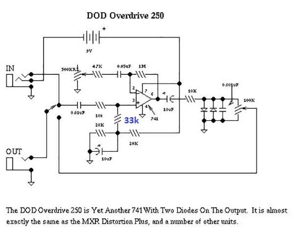 Схема дисторшина DOD 250